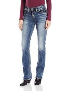 Silver Jeans Women's Suki High Rise Slim Bootcut Jean, Dark Wash Indigo, 27x33