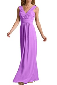 MILANO BRIDE Affordable Wedding Party Dress Prom Gown Floor-Length V-neck Chiffon-17W-Lavender