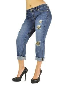 Poetic Justice Curvy Women's Animal Backed Destroyed Skinny Boyfriend Jeans