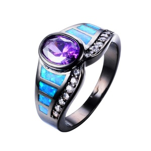 CHIC Eleant Amethyst Ring Fashion Blue Fire Opal Rings Black Gold Vintage Wedding Rings 8.0