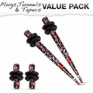 Red & Black Splatter IP 316L Steel WildKlass Plug & WildKlass Taper with O-Ring Set Value Pack
