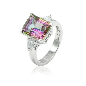 3 Stone Heart Promise Ring CZ Emerald Cut Rainbow Cubic Zirconia 925 Sterling Silver