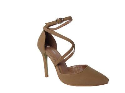 Top Guy Bat-23 Womens Pointy Toe Pump High Heels Strappy Fashion Ankle Strap Stilettos Tan 5