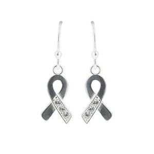 Tomas Sterling Silver Awareness Hook Earrings with Clear Crystals