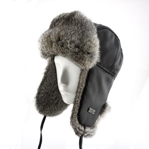 FUR WINTER Lamb Leather Rabbit Fur Aviator Bomber Trapper Trooper Hat BLK XL