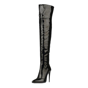MERUMOTE Women's Autoois Pointed Toe Thin High Heels Dress Shoes Over-Knee High Boots Black 10.5 US