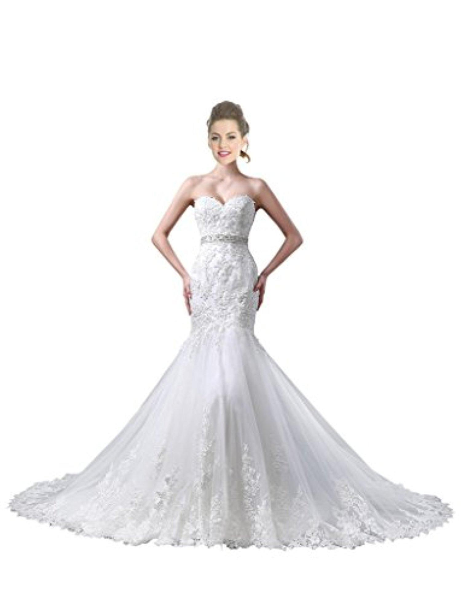 JoyVany Mermaid Wedding Dresses 2016 Lace Wedding Gown with Beaded Belt White Size 14