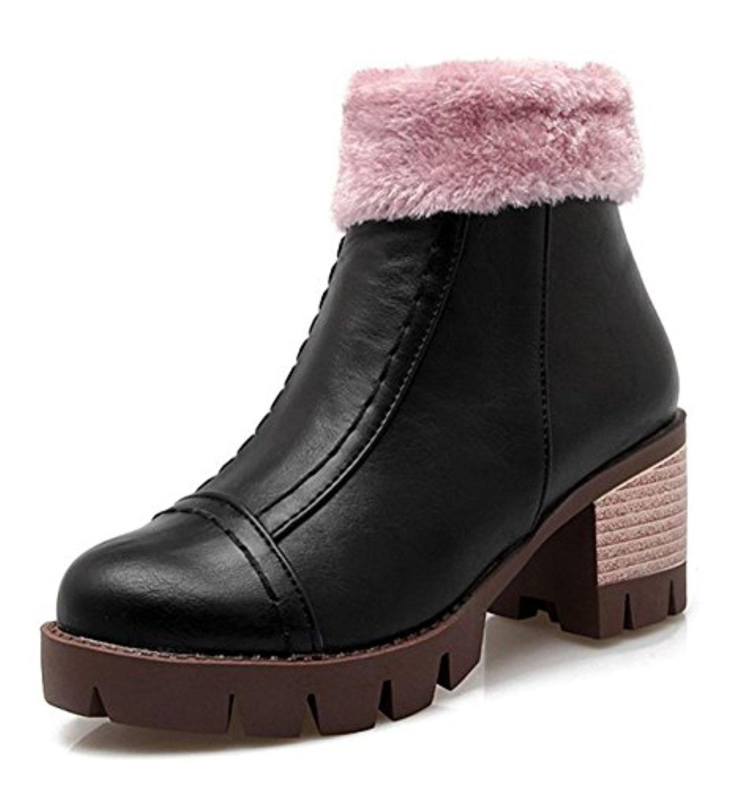 CHFSO Women's Warm Solid Round Toe Zipper Mid Chunky Heel Platform Ankle Boots Black 9 B(M) US