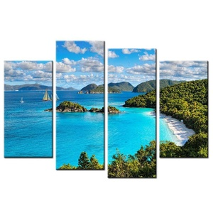 VVOVV Wall Decor - 4 Panels Spray Wall Painting Blue Sky And White Clouds Seaview Modern Canvas Art Print Poster Picture Canvas Home Decorative 48x32inch,unframed