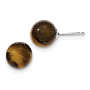 .925 Sterling Silver 10 MM Tiger's eye Stud Earrings