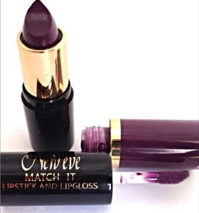 Lipstick and lipgloss PLUM New Eve 2 in1 Trendy Match it Lipstick and Lip Gloss set 15ml Cosmetic Duo Makeup plum by New Eve