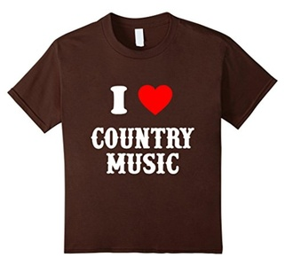 Kids I Love Country Music Unisex's T-Shirt 12 Brown