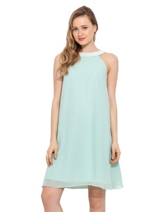 Saiesta Women's Mint Green Halter Neck Flared Look Embellished Dress S