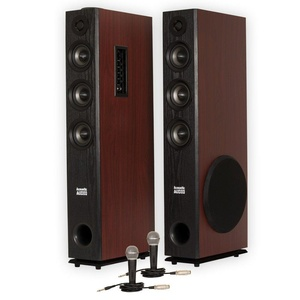 Acoustic Audio TSi650 Bluetooth Powered Floorstanding Tower Home Multimedia Speaker Pair and Mics TSi650M2