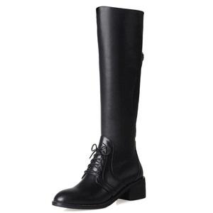 Nine Seven Leather Women's Round Toe Chunky Heel Lace Up Side Zip Closure Handmade Knee High Boot (5.5, black)