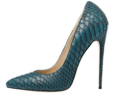 Maikool women's Elegant Spike High Heel Pointed Toe Snakeskin Scaly Party Court Shoes 8 M US Dark Blue