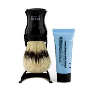 Shaving Brushes by Men-u Barbiere Pure Bristle Shave Brush and Stand Black with Free Shave Creme Tube 15ml by men-u
