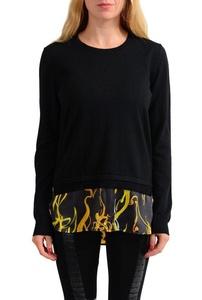 Versace Jeans 100% Wool Black Knitted Women's Crewneck Sweater US XS IT 38;
