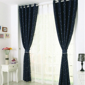 (Single Panel) Room Darkening Printed Navy with Sliver Stars Curtain, Unlined Grommet Drape, Polyester Soft Microfiber 98 by 39 inch