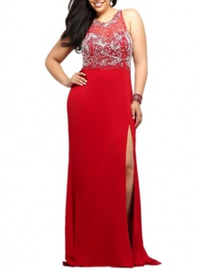 Winnie Bride Glamorous Beading Formal Prom Dress for Women Evening Plus Size-24W-Red