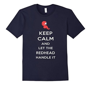 Men's Keep Calm And Let The Redhead Handle It Shirt Small Navy
