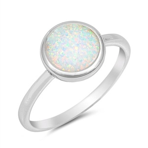 Womens Wedding Ring Lab Created White Opal Bezel Engagement Vintage Sytle Sterling Silver Band Size 7