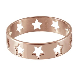 Quiges - Stainless Steel Rose Gold Stacking Ring Slide-On Ring 6mm Height (different Ring sizes)