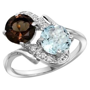 10K White Gold Diamond Natural Smoky Topaz & Aquamarine Mother's Ring Round 7mm, size 9