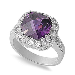 Accent Halo Engagement Ring Faceted Cushion Cut Simulated Purple Amethyst Round CZ 925 Sterling Silver