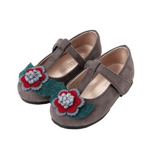 Ozkiz Girls' Wind Flower Mary Jane Flats Shoes Little Kids and Toddler Grey 8M