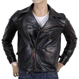 Sugar Cane Mens Leather Black horsehide Aviator Jacket CANE5802
