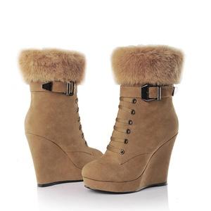 Mostrin Fashion Women's Buckle Warm Fur Snow Boots Sexy Zipper Wedge Heel Platform Winter Ankle Booties