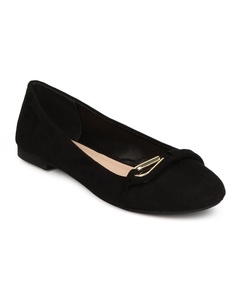 Qupid FF08 Women Faux Suede Round Toe Loop Band Ballet Flat - Black (Size: 10)