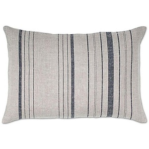 Aura Vertical Stripes Linen Oblong Linen Throw Pillow in Natural/Black