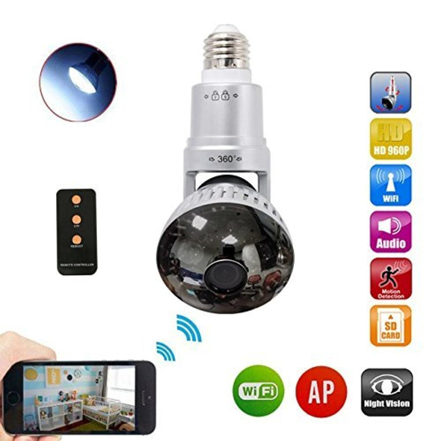 Bulb Security Dvr Camera Motion Dection,Night Vision,Circular Storage,Using  940nm,Mirror Cover Support Iphone Or Android App Remote View 120 Degree