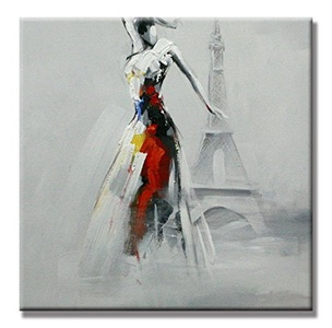 Charming Charm- Effiel Tower Bliss Dancing Woman Hand Painted Oil Painting People with Stretched Frame Wall Art 24 x 24 Inch