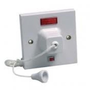 45A Pull Switch With Neon - Shower switch - BS3676 by RED/GREY