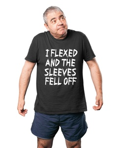 Hot Ass Tees Adult I Flexed and The Sleeves Fell Off T-Shirt Charcoal XX-LARGE