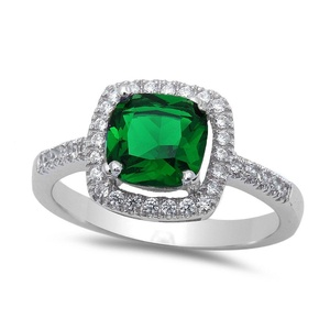 Halo Accent Wedding Engagement Ring Cushion Cut Simulated Green Emerald Round CZ 925 Sterling Silver