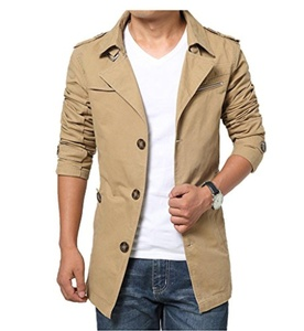 YDKZM Mens Long Sleeve Windbreaker Single Breasted Trench Coat Jacket