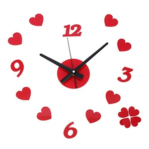 DIY 3D Red Heart Wall Clock Surface Sticker Removable Home Office Decor