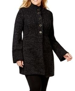 Style & Co. Women's Semi Button Front Sweater (1X, Rhone/Deep Black)