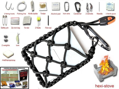 The #1 BEST Emergency Kit Survival Stove : Your Pocket stove is wrapped with 550 paracord with a fuel cube, survival fishing kit with an attached carabiner and whistle 100% guarantee (Black)