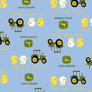 John Deere Duck Duck Tractor Blue Fabric From Springs Creative By the Yard