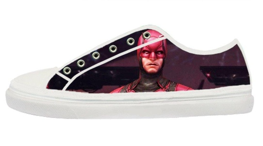 Daredevil Comic Design Women's Pop White Low Top Zipper Canvas Shoes Cool Lace-up Sneakers-7M(US)
