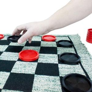 Jumbo Size 3 in 1 Checker, Tic Tac Toe, and Mega Tic Tac Toe Rug Game - Includes 5 Bonus Dice!