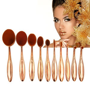 Oval Toothbrush Makeup Brush Set, 10pcs Deluxe Rose Gold Toothbrush Make-up Brushes Powder Foundation Contour with Case Box