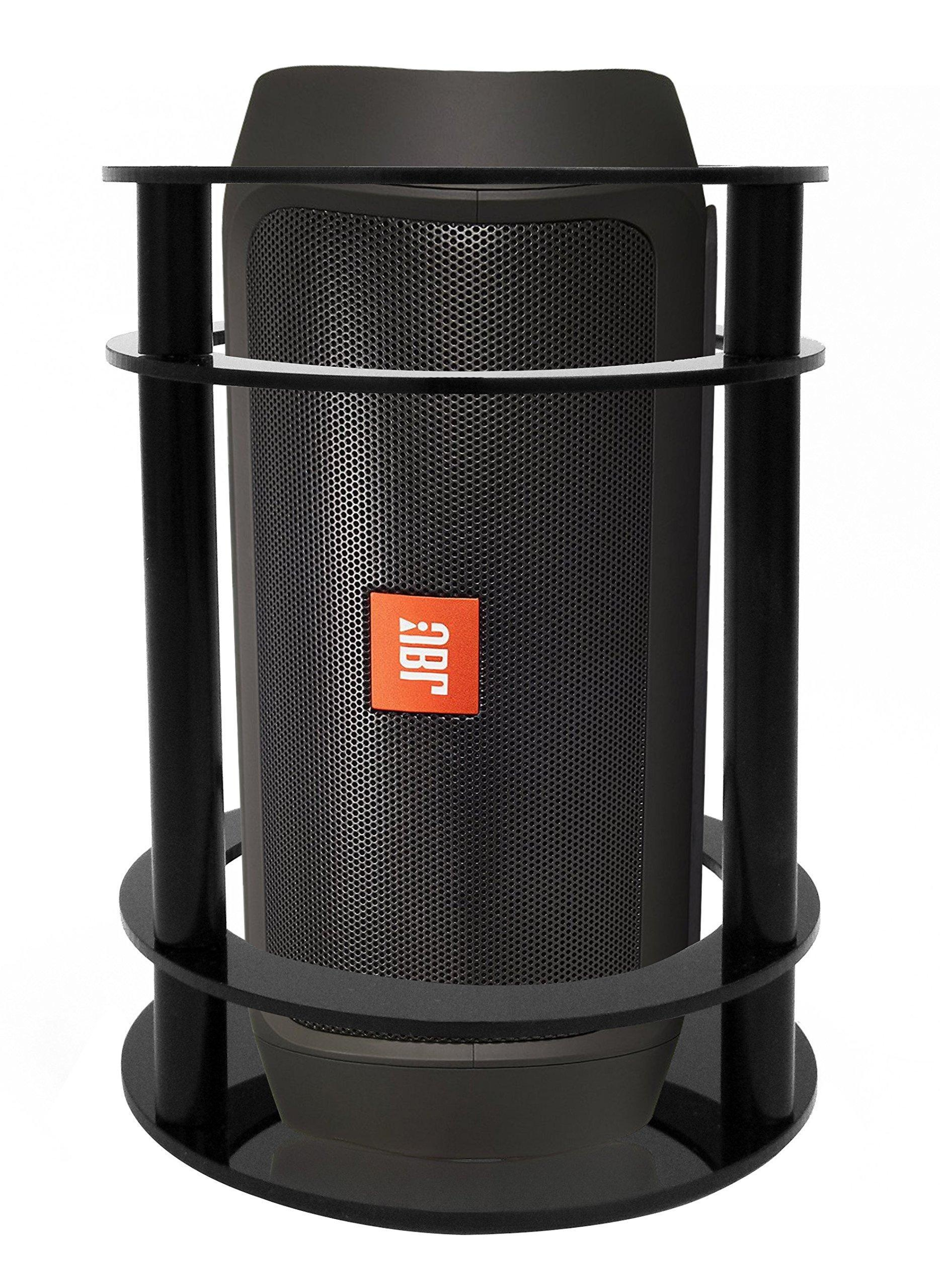 FitSand Speaker Stand Guard Station for JBL Charge 2+ Splashproof Portable Bluetooth Speaker - Enhanced Strength and Stability to Protect Alexa Boom Speaker (Black)