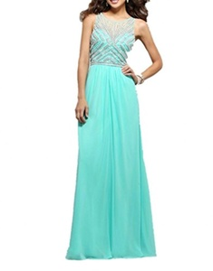 Winnie Bride Women's Beading Formal Evening Gowns Long Prom Ball Gala Dresses-8-Cyan