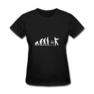 ZhiBo Women's Funny Anthropoid Monkey Ape Evolution Rip Zombie Customized T-shirt Black Large Woman